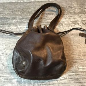 VINTAGE AUTH COACH BROWN LEATHER HOBO DRAW BAG
